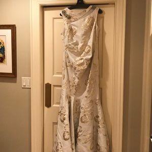 Teri Jon cream and gold gown